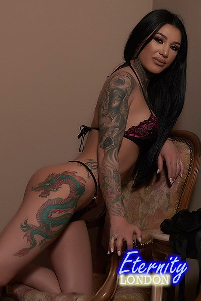 34C Tattooed Role Play Striptease London Escort Davis